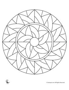 Simple Art Deco Mandala - free coloring page