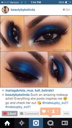 Blue and black eyeshadow , great for brown eyes