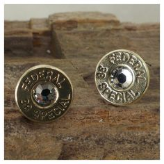 Crystal Bullet Earrings - Federal 38 SPL - Ultra Thin - April Birthstone