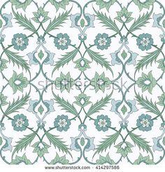 Бесшовные узор в традиционном арабском стиле для вашего дизайна. Iznik фона.Вектор. Фон - Векторная иллюстрация