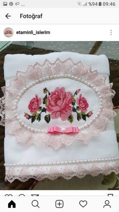 Cross Stitch Flowers, Diy And Crafts, Embroidery, Bath Towels & Washcloths, Towel Crafts, Ribbon Crafts, Decorative Towels, Crochet Poncho, Simple Eye Makeup
