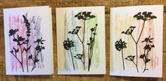 Simple Notelets - using Tim Holtz Distress Crayons on linen card with Sizzix Tim Holtz Wildflower Dies.