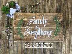 Family is Everything, rustic wood sign, family sign, handpainted wood sign, wooden signs, wood sign,  handpainted decor, home decor, rustic by BrushstrokesByJodi on Etsy https://www.etsy.com/ca/listing/518910212/family-is-everything-rustic-wood-sign