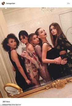 Her new posse: Kaia Gerber(far right) posed with Kendall Jenner and Hailey Baldwin at Friday's Harper's Bazaar Icons party in NYC; also in the shot are Isabella Peschardt (far left) and Camila Morrone