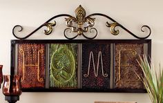 Home. Home. Home. Fleur-de-lis Home Metal Wall Plaque Art