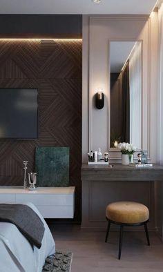 Furniture Design Guide: Tips for Modern Bedroom Design « Bedroom Furniture Design, Modern Bedroom Design, Furniture Sets, Bedroom Tv Wall, Bed Room, Luxury Interior, Interior Design, Dressing Table Design, Hotel Room Design