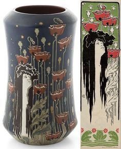 """Night"" vase by Villeroy & Boch, based on an illustration by Hans Christiansen for ""Jugend"", 1897, Munich"
