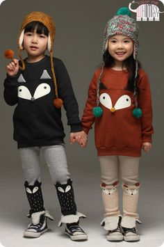 Foxy Sweatshirts and Leggings Set. Cool kids fashion, play ready style at Color Me WHIMSY. Little Girl Fashion, Toddler Fashion, Boy Fashion, Cute Outfits For Kids, Cute Kids, Baby Kind, Stylish Kids, Kid Styles, Pulls