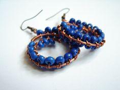 ultramarine blue beads, copper earrings