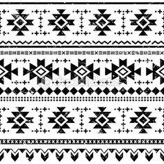 vector naadloze Azteekse sieraad, zwarte grunge etnische patroon op witte achtergrond — Stockillustratie #42832687