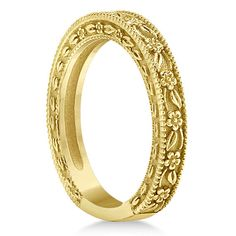 Carved Floral Designed Wedding Band 14k Yellow by GNGJewel;$338 ALSO AVAILABLE IN ROSE GOLD for same price