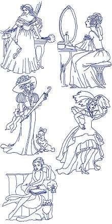 Victorian Ladies Redwork Set
