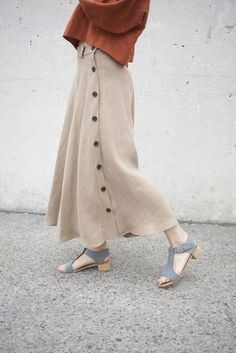 Creatures Of Comfort Salinger Skirt in Camel Linen--love the skirt! and the  gray suede sandals!