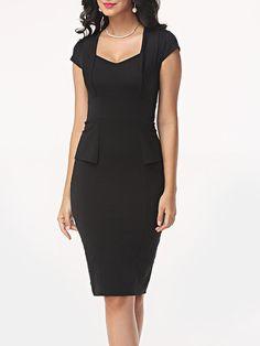 #AdoreWe #FashionMia Bodycon Dresses - FashionMia Plain Floded Sweet Heart Bodycon-dress - AdoreWe.com