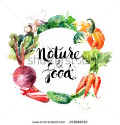 Eco food menu background. Watercolor hand drawn vegetables. Vector illustration