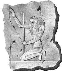 Heket, diosa benéfica, símbolo de vida y fertilidad que preside los nacimientos y como comadrona ayudaba en el parto, según la mitología egipcia.