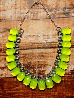 Neon Yellow Rhinestone Bib Necklace by NeonRow on Etsy, $30.00