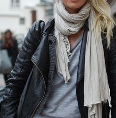 layering, scarf, leather jacket, casual