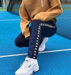 Fila white 80's sneakers shoes street fashion street style kappa pants outfit Fila Disruptor