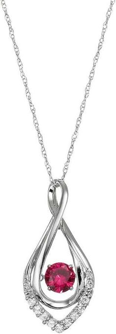 Kohl's Sterling Silver Lab-Created Ruby Infinity Pendant Necklace