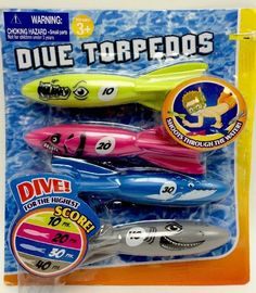 Dive Torpedos Kid's Pool Diving Underwater Toys 4pc ages 3+ New  | eBay