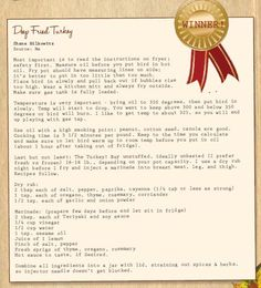Shane's Deep Fried Turkey Holiday Recipe...I've never eaten a deep fried turkey but would love to try this one