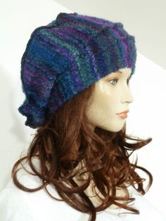Unique lagenlook classic style purple and blue boucle knit wool mix slouchy hat