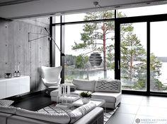 Contemporary Houses on nimeltään sisustuskirja, joka muutti naantalilaisten Annen ja Kain elämän. Sisustuslehtien ja -kirjojen suurkuluttajaksi itseään tituleeraavan Annen uusi hankinta imaisi mukaansa niin, että hän selasi teosta iltakausia. -Ihastuimme Kain kanssa kirjassa esiteltyyn… Cabins In The Woods, Modern Minimalist, Modern Rustic, My Dream Home, Interior Inspiration, Villa, Living Room, Interior Design, House