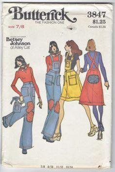 Butterick-Betsey-Johnson-Pattern-3847-Junior-Teen-7-8-Skirt-Pants-Bib-Patches