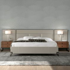 London Collection Modern Low Leather Upholstered Bed With Wide Headboard - Juliettes Interiors Modern Headboard, Headboard Designs, Headboards For Beds, Floor Bed Frame, Bedroom Bed Design, Master Bedroom, Bedroom Decor, Bed Slats, Bedrooms