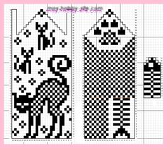 ※ Fяее Pаттеяи ※ cat and fish bones with a paw print Knitted Mittens Pattern, Knit Mittens, Knitting Socks, Baby Knitting, Knitting Charts, Knitting Patterns, Norwegian Knitting, Cat Pattern, Perler Beads