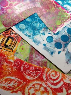 Jessica Sporn Designs - To create my pages, I first laid out a bunch of gelli prints left over from other projects.