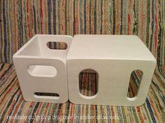 Onze Montessori geïnspireerd kubus stoelen zijn gemaakt van massief hout. Deze set van twee stoelen van de kubus is zeer veelzijdig en aanmoedigen van onafhankelijkheid. Het zal groeien met uw kind van baby tot peuter tot peuter. De kleine kubus kan worden gebruikt voor de zitplaatsen en de grote kubus als een tabel. Wanneer uw kind groter krijgen de grote stoel kunnen gebruiken en de kleine kubus kan worden gebruikt als een kruk of eindtafel. De zithoogte kan worden gewijzigd door het om...