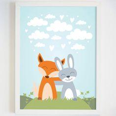 Woodland Nursery Decor - Gender Neutral Decor - Woodland Nursery Wall Art - Woodland Bunny Wall Art - Forest Animal Illustration for…