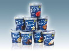 Purposefully disrupting the prevailing clear container aesthetic favored by the emerging gelato category, The Biondo Group (Stamford, CT) chose a vibrant blue background, simple white reverse type and glimmering silver lids to craft a premium Italian café ambiance for the eight-flavor, non-dairy, gluten-free, almond-based dessert line – 'Dream Gelato'– from Imagine Foods, Hain Celestial Group. #Gelato #IceCream #Packaging