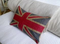 "Union Jack pillow. Jo said the chair was ""too much"""