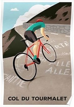 'Col du tourmalet' posters by superchezbro - A classic climb from the Tour de France. Original cycling poster by Andrew Rose for Super Chéz Bro - Cycling Art, Cycling Bikes, Cycling Quotes, Cycling Motivation, Indoor Cycling, Cycling Shorts, Cycling Jerseys, Road Cycling, Road Bike