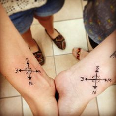 Matching compass tatties with my seester @ktsmit2 because we're explorers  #matching #tattoos #tattoo #newtattoo #matchingtattoos #matchingtatts #sister #mysister #siblingtattoos #compass #explorers #explore #always #love