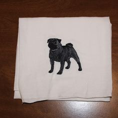 Machine Embroidered Show Stance Black Pug by CraftsbyJeanJanisch, $6.50