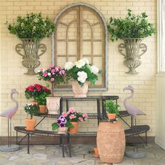 weathered window pane, perfect for indoor or outdoor! Garden Crafts, Garden Art, Garden Ideas, Outdoor Plants, Outdoor Gardens, Outdoor Spaces, Iron Plant, Outside Patio, Lawn And Garden