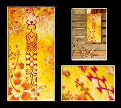"""""""For her"""" Acrylique sur toile 30x90cm - Motifs en relief - Made in Tahiti"""