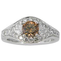 14K White Gold Modified Halo Fancy Diamond Ring $5,995.00