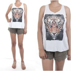 ebclo - Soft Rayon Jersey Knit Sleeveless Tee TIGER Print Tank Top NEW #ebclo #GraphicTee $12.00 Free Domestic Shipping