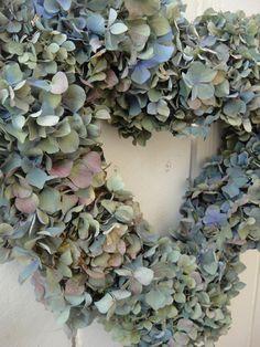 Heart Wreath  Hydrangea Wreath   Dried Hydrangea by donnahubbard, $55.00