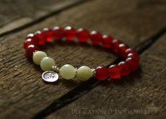 Ruby Lotus Yoga Bracelet Tibetan Jewelry by CandiedBohemian, $32.00