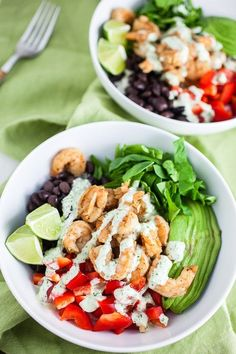 Mexican Shrimp Rice Bowls are the perfect quick and healthy lunch or dinner recipe. These flavorful rice bowls are topped with spiced shrimp, fresh veggies, and a delicious cilantro lime dressing! Lunch Recipes, Seafood Recipes, Healthy Dinner Recipes, Sauce Recipes, Meal Recipes, Vegan Meals, Fish Recipes, Delicious Recipes, Recipies