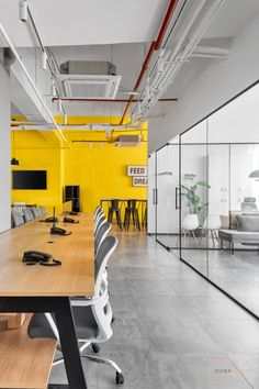 Industrial Interior Theme with Balanced Color Pops : The Expand Loft | Quirk Studio - The Architects Diary Open Space Office, Aesthetic Space, Black And White Artwork, Neutral Colour Palette, Ceiling Windows, Ikea Furniture, Industrial Style, Office Decor, Architects
