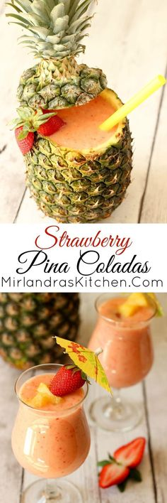 Strawberry Pina Coladas for a wonderful twist on a great classic. I have a few surprise ingredients that make this extra nice. Nothing makes a hot summer day better like a cold frosty drink. You might even start to think you are by the ocean! Refreshing Drinks, Yummy Drinks, Yummy Food, Fancy Drinks, Cocktail Recipes, Cocktails, Frozen Drinks, Daiquiri, Non Alcoholic Drinks