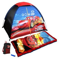 Disney Cars 4 Piece Camp Kit    Camp out with Disney Cars 4 piece camp kit. This 4-piece kit has a floorless Disney Cars tent,  sleeping bag,  flashlight and Disney Cars themed carry bag. Each piece is durable for years of camping fun.  Kids will love setting up their own tent with easy-to-use fiberglass poles.  Watch them lay down their favorite Disney blanket and set up their camp site before your eyes.  It's a fun and unique camp set that kids love.  Available at mygiftdeals.com