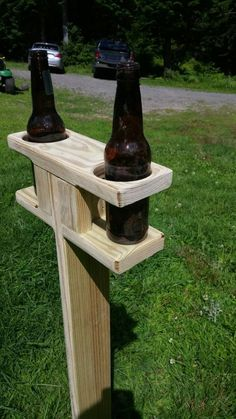 Outdoor beverage spike. Perfect to hold your favorite beverage while playing corn hole, horse shoes, or other outdoor games: